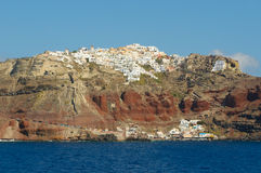 Oia dorp bij Santorini eiland, Griekenland Royalty-vrije Stock Foto's
