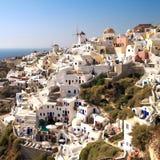 Oia dorp in eiland Santorini. Stock Afbeelding