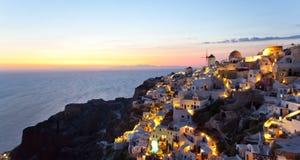 Oia dorp in eiland Santorini - Griekenland Royalty-vrije Stock Afbeelding
