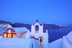 Oia dorp op eiland Santorini Stock Foto