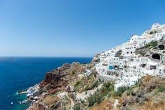 Oia dorp, Santorini eiland, Griekenland Stock Afbeeldingen