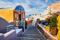 Oia dorp, Santorini, Griekenland stock foto