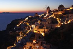 Oia at dusk in Santorini Island, Greece Stock Photo