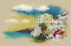Oia en la isla de Santorini Bosquejo de la acuarela Dibujo en el papel viejo Imagen de archivo libre de regalías