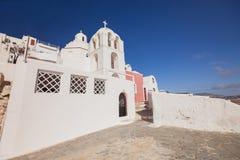 Oia en la isla de Santorini Grecia Fira Edificios blancos, iglesia blanca Fotografía de archivo libre de regalías
