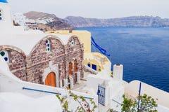 Oia en la isla de Santorini Grecia Oia Arcilla blanca, edificios blancos imagenes de archivo