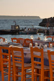 Oia fisher port restaurant Santorini Royalty Free Stock Photography