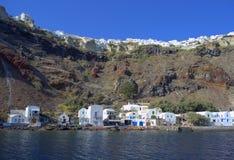 Oia-Hafen, Santorini, Griechenland Lizenzfreies Stockfoto