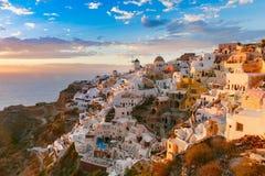 Oia or Ia at sunset, Santorini, Greece Stock Image