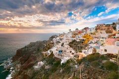 Oia or Ia at sunset, Santorini, Greece Royalty Free Stock Photography