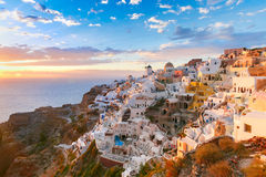 Oia or Ia at sunset, Santorini, Greece Stock Photography