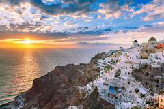 Oia or Ia at sunset, Santorini, Greece Royalty Free Stock Photos