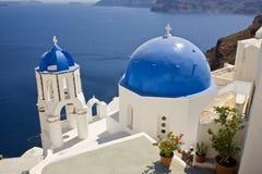 Oia Kerk, Santorini, Griekenland Stock Foto's