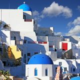 Oia, kleurrijke stad in Grieks eiland Santorini Stock Fotografie