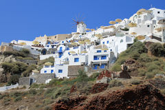 Oia landscape, Santorini, view with windmills Stock Photos