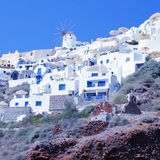 Oia landscape, Santorini, view with windmills Royalty Free Stock Photos