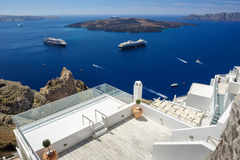 Oia luxury decks and patios. Luxury decks and patios of Fira before the high season, Santorini, Greece Stock Photos