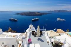 Oia luxury decks and patios. Luxury decks and patios of Fira, Santorini, Greece Stock Photos