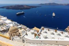 Oia luxury decks and patios. Luxury decks and patios of Fira, Santorini, Greece Stock Photography