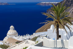 Oia luxury decks and patios. Luxury decks and patios of Fira, Santorini, Greece Royalty Free Stock Photo