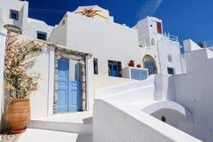 Oia luxury decks and patios. Luxury decks, pensions and patios of Oia, Santorini, Greece Stock Photo