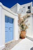 Oia luxury decks and patios. Luxury decks, pensions and patios of Oia, Santorini, Greece Stock Image
