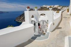 Oia luxury decks and patios. Luxury decks and patios of Oia, Santorini, Greece Royalty Free Stock Photos