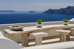 Oia luxury decks and patios. Luxury decks and patios of Oia, Santorini, Greece Royalty Free Stock Photo