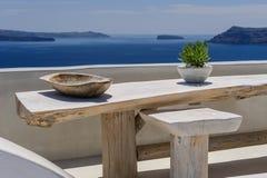 Oia luxury decks and patios. Luxury decks and patios of Oia, Santorini, Greece Royalty Free Stock Photography