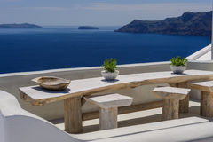 Oia luxury decks and patios Stock Image