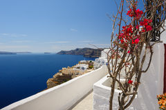 Oia luxury decks and patios Royalty Free Stock Photography
