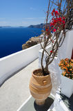 Oia luxury decks and patios Royalty Free Stock Photos