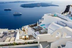 Oia luxury decks and patios. Luxury decks and patios of Oia, Santorini, Greece Royalty Free Stock Image