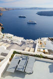 Oia luxury decks and patios. Luxury decks and patios of Oia, Santorini, Greece Stock Photo