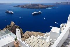 Oia luxury decks and patios. Luxury decks and patios of Oia, Santorini, Greece Stock Photos