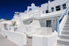 Oia luxury decks and patios. Luxury decks and patios of Oia, Santorini, Greece Stock Images