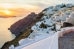 Oia luxury decks and patios at sunset Royalty Free Stock Photos