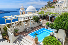 Oia luxury decks and patios. Typical lxury decks and patios in Fira, empty before the high season, Santorini, Greece Stock Photography