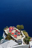 Oia luxury outdoor cafe Royalty Free Stock Image