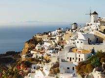 Oia miasteczko na Santorini wyspie, zmierzch Grecja Zdjęcie Stock