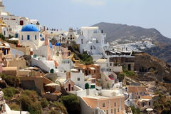 Oia in the morning - Santorini Island. Panoramic view of Oia in the morning Royalty Free Stock Photo