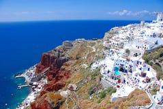 Oia no console de Santorini Imagem de Stock