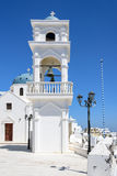 Oia Orthodox church and the bell tower on Santorini island Royalty Free Stock Photos