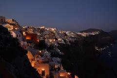 Oia på natten Arkivfoto