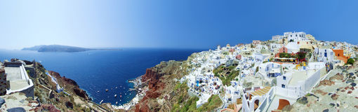 Oia-Panorama Stockfotos