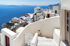 Oia panorama przy Santorini Grecja Obrazy Stock