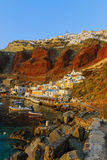 Oia and the port of Ammoudi stock photos