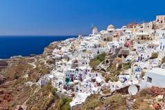 Oia Santorini海岛城镇结构  免版税图库摄影