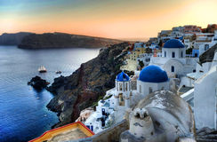 Oia Santorini. This shot was taken in Oia, Santorini, a Greek island. It happened right after sunset Stock Images
