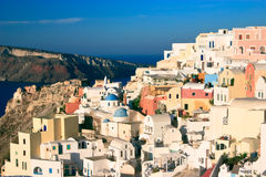 Oia, Santorini. The dramatically located village of Oia, perched on the edge of the volcanic cliffs on the island of Santorini Royalty Free Stock Photo
